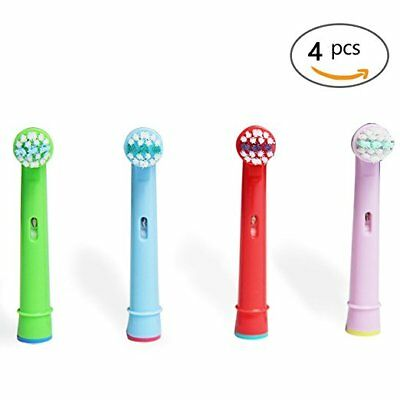 4 Color Replacement Heads Compatible With Oral-B Stages Kids Electric Toothbrush