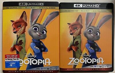 Disney Zootopia 4K Ultra Hd Blu Ray 2 Disc + Slipcover Sleeve Ultimate Edition