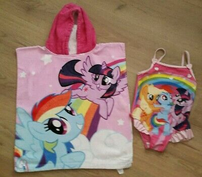 Tu Girl's My Little Pony Swimsuit and Matching Hooded Poncho Towel Age 5