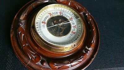 Antique Victorian Carved Hardwood Aneroid Wall Barometer 7.5 Inches Diameter