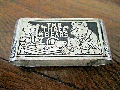 Antique Sterling Silver THE THREE BEARS Raised Design 2-Sided 26 grams CHARMING!
