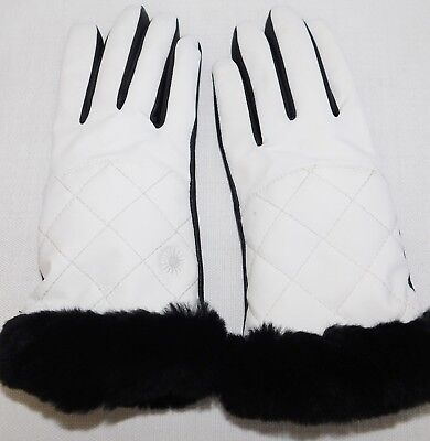 New Nwot Womens S / M Ugg White Quilted Nylon Smart Gloves W/ Fur Shearling Cuff