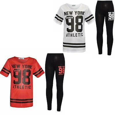Kid Girl New York 98 Print Fishnet Baseball Top And Leggings Two Piece Tracksuit