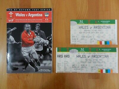 Wales V Argentina Rugby Union Programme + 2 Ticket Stubs 10/11/2001.