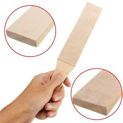 Wooden Handle Leather Craft Polish Sharpening Strop Sharpener Double Sided O3