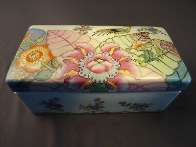 Antique Chinese Porcelain Hand Painted Famille Lidded Medallion Brush Box Marked