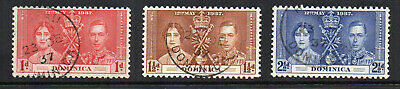 Dominica - 1937 Coronation of King George VI (sg96-98) Used