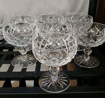 "Waterford 4 3/8"" DONEGAL CUT CRYSTAL CHAMPAGNE SHERBET GLASS Stems MINT"