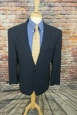 Jos A Bank Signature 46L Navy Plaid Houndstooth SILK WOOL Sport Coat Blazer EUC