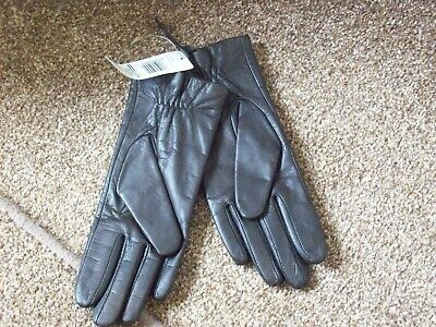 Bnwt M&S Ladies Lovely Dark Brown Real Leather Gloves Sz  Small  - Medium