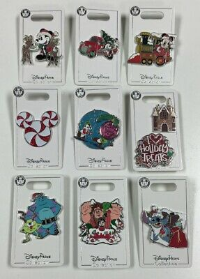 Disney Parks Chritmas Holiday Disney Pin Set Sulley Mickey Chip & Dale Vanellope