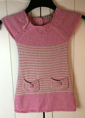 NEXT JUMPER DRESS - Girls age 2 3 years - Pink Striped Knitted tunic -cotton -x