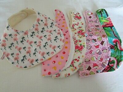 Handmade Pretty Baby Bibs in Retro Prints Toweling Backed Popper Fastening Multi