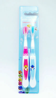 Baby Shark Children's Double Toothbrush Set Pink + Blue Non Slip 2Yrs+