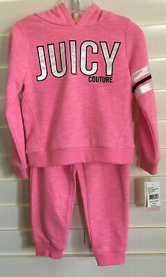 NWT JUICY COUTURE GIRLS TODDLER 3T Pink Hoodie & Joggers 2PC Sweatsuit $70+socks
