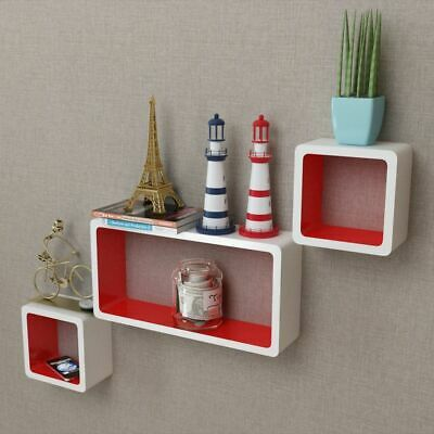 3 MDF Floating Cubes Wall Storage Book CD Display Shelves Square White-red
