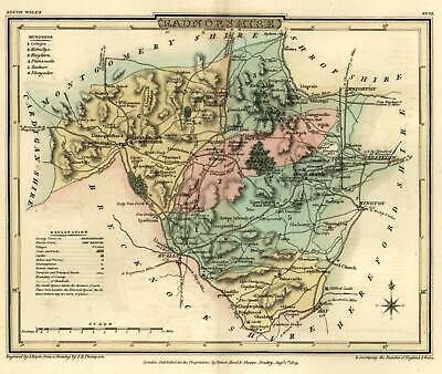 Radnorshire Wales U.K. 1808 Welsh County engraved map