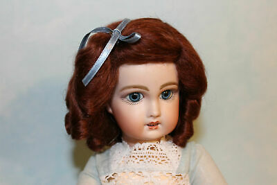 daisy Light Brown mohair wig  for antique French or German doll size 13 - 14