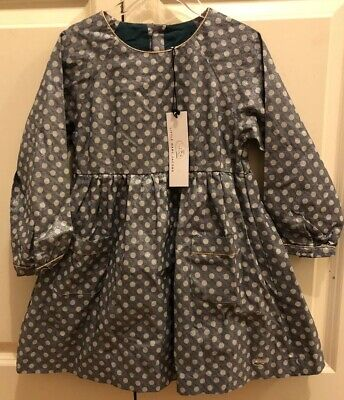 Little Marc Jacobs Girls Blue Dress With White Polka Dots Hold Trimming Holiday