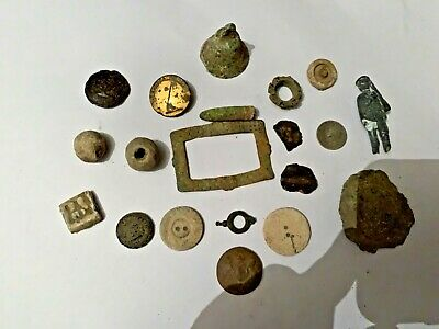 Selection of metal detecting finds Roman silver coins relics