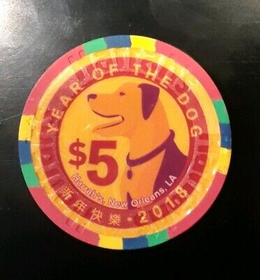 $5 Harrahs, New Orleans Casino Chip - 2018 Year of the Dog