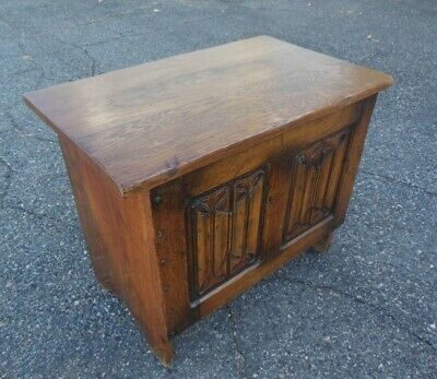 Antique French English Carved LINEN FOLD Oak TRUNK CHEST Bench Table