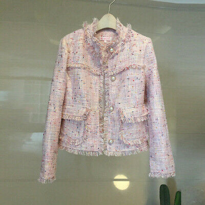 Occident Women Pearl Button Short Jacket Beading Party Tassels Tweed Coats Vogue