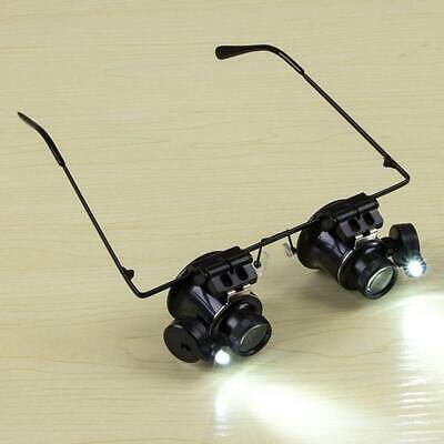 20X Glasses Type Magnifier Watch Repair Tool with Two LED Lights F1~