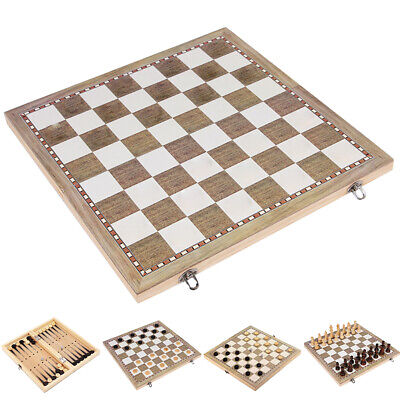 3 in1 Kids Wooden Folding Chess Boards Backgammon Game Checkers Draughts Set Toy