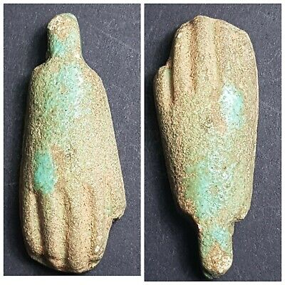 Rare Egyptians old antique terracotta faience hand amuelt