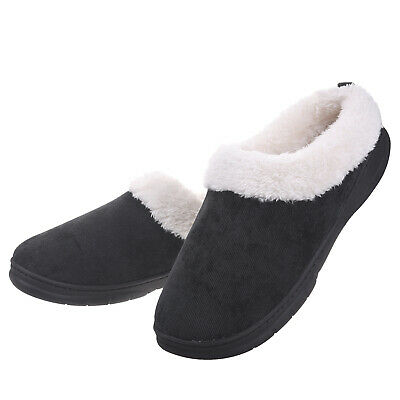 Mens Memory Foam Winter Slippers Faux Fur Collar House Shoes Anti-Skid Warm