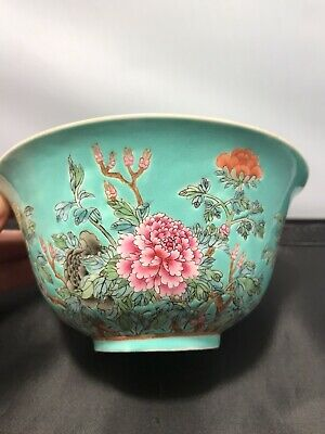 FIne Antique Chinese Turquoise-Ground Porcelain Bowl Flowers , Qing Dynasty
