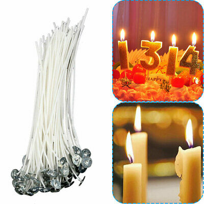100/200X 20cm Pre Waxed Wicks for Home Candle Making Cotton with Sustainers UK