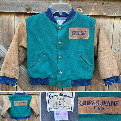 Vintage Georges Marciano Guess M 2Y 3Y Wool & Leather Varsity Jacket Baby Guess