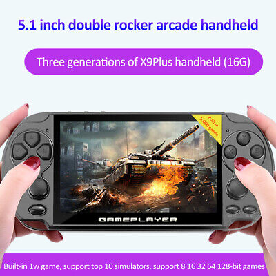 """128 Bit 16GB 5.1""""Built-In 10000 Game Portable Handheld Video Game Console Player"""