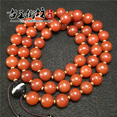 China old antique natural handcarved red agate Round beads Necklace Bracelet