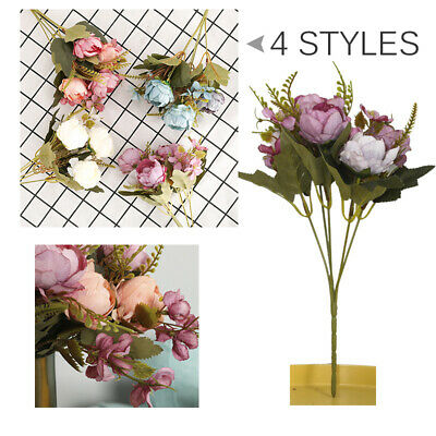1 Pcs Artificial Flower Fake Peonies Silk Small Bouquet Home Wedding Party Decor