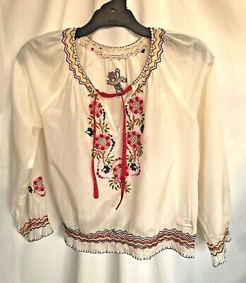 Pale cream silk floral embroidered vintage.peasant boho style blouse  Odd Molly