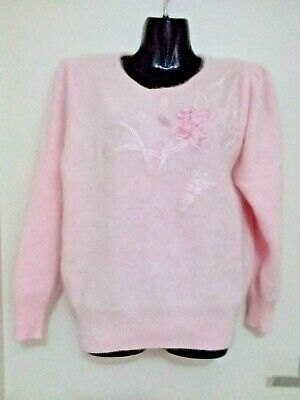 Size 10 - Size 12 Women's Vintage Baby Pink Fluffy Angora Lambswool Jumper