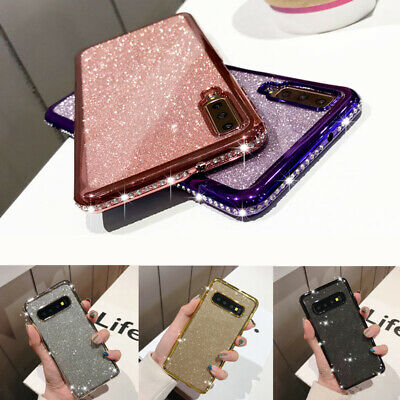 Glitter Diamonds Case For Samsung Galaxy Bling Crystal Chrome Edge TPU Cover UK