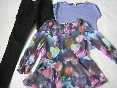 Girls Clothes Bundle x 3 Items 6-7 Yrs Jeans/Blouse/T-Shirt M&S/Indigo