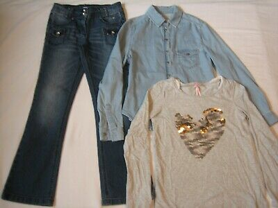 Girls Clothes Bundle x 3 Items 10 Yrs Jeans/Shirt/T-Shirt Next/M&S/New Look