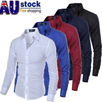 AU Men Luxury Casual Formal Shirt Long Sleeve Slim Fit Business Dress Shirts Top
