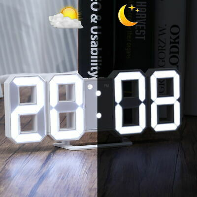 3D Digital LED Table Desk Night Wall Clock Alarm Watch 12/24h Battery USB Dimmer