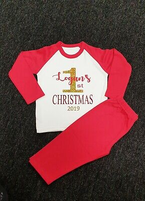 Personalised Babys First Christmas Pyjamas. Personalised Pjs. Age 6-12 any name