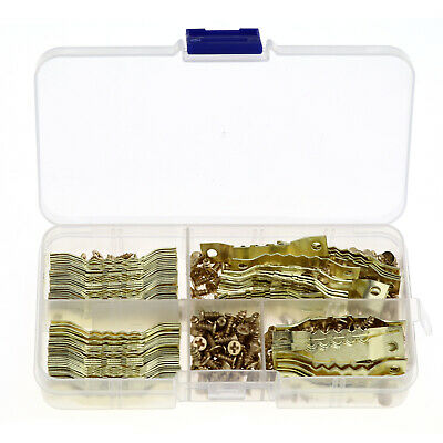 100 Pcs Saw Tooth Frame Hooks Picture Hooks Hanger Double Hole with Screws Gold