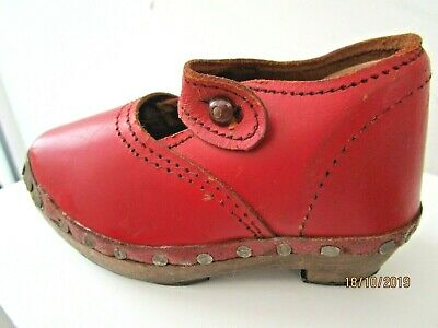 Antique Childs Red Leather Clogs size 3  Look Like Unworn