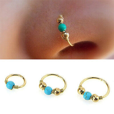 Stainless Steel Nose Ring Turquoise Nostril Hoop Nose Earring Piercing Jewel~L/_X