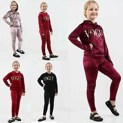 Girls Velour Vogue Tracksuit Kids Top & Bottom Set Velvet Lounge Wear Co Ord Sui