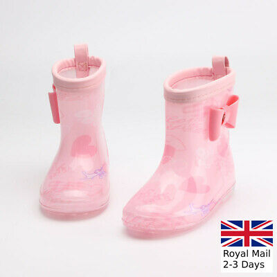 Girls Kids Children Pink Wellington Boots Wellies Rain Snow Boots Shoes Size